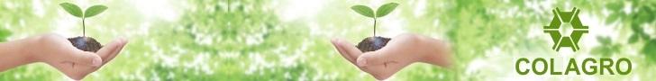 Mão segurando uma planta verde mais a lgomarca do curso de agronomia